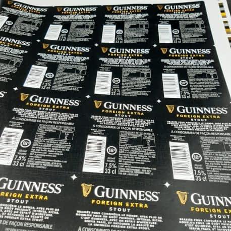 Impression d'étiquettes de bière GUINNESS