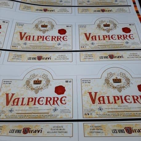 Impression d'étiquette de vin Valpierre