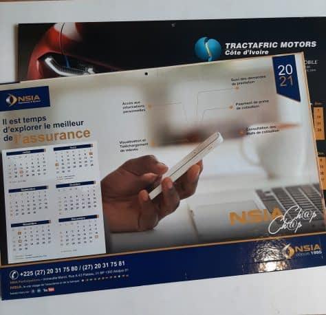 Impression de calendriers bancaires NSIA et TRACTAFRIC MOTORS