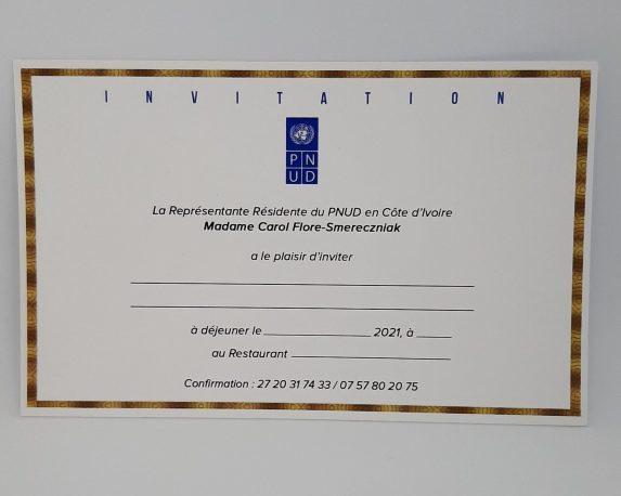 Impression de carte d' invitation PNUD